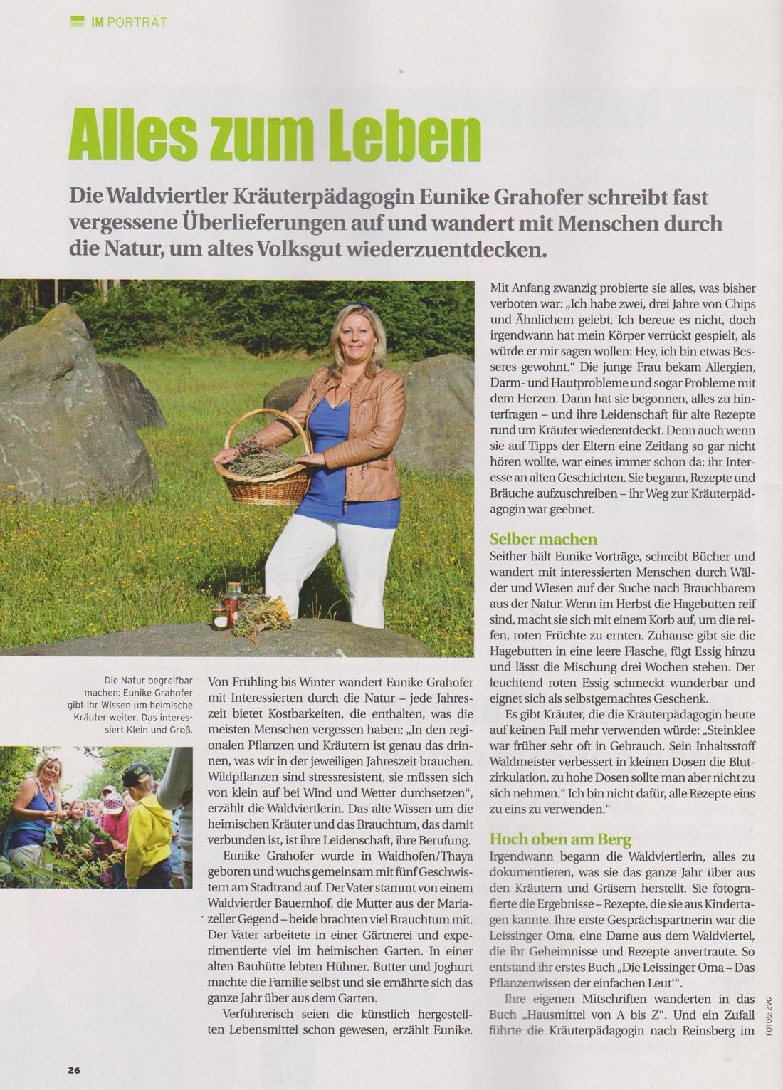 Portrait der Waldviertler Kräuterpädagogin aus Waidhofen. Eunike Grahofer schreibt fast vergessene Überlieferungen auf.