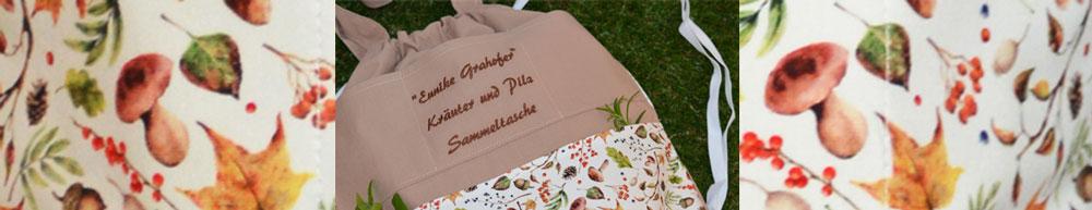 Foto Tasche zum Sammeln von Kraeutern und Stoffmuster Kraeuter und Pilze